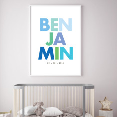 Boy's name/birth custom print (more colours)