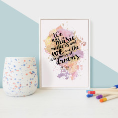 Inspirational Quote we are the music makers framed mini print