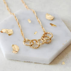 Gold Linked Rings Necklace