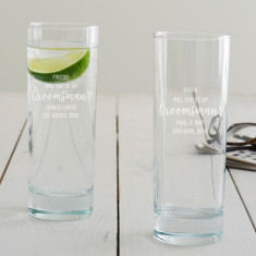 Personalised 'Will You Be My Groomsman?' Hi Ball Glass