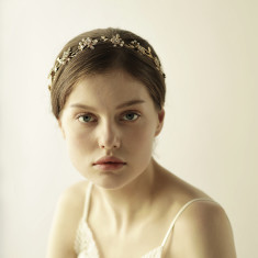Gold Pearl and Crystal Bridal Hair Crown