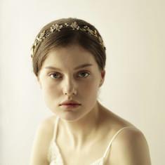 Gold Pearl and Crystal Bridal Hair Crown