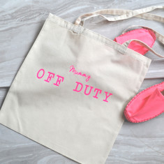 Personalised off duty tote bag