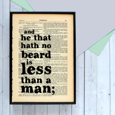 Gift For Him Shakespeare beard Lover quote  - book page print