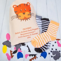 Personalised Safari Animal Sock Puppets Craft Kit