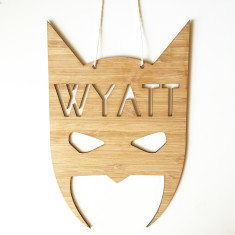 Superhero personalised bamboo wall hanging