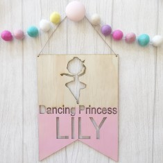 Personalised Dancing Princess name wall or door hanging pennant