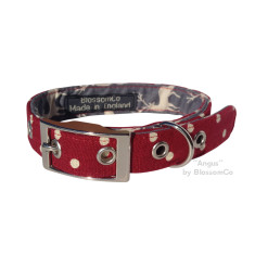Red and white spot dog collar