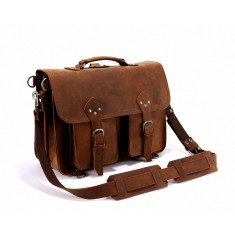 Extra Large Front Pocket Leather Satchel Laptop Bag In Tan - 18