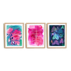 Floral Moths archival art prints (Set of 3)