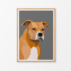 American staffy illustrated print (various colours)