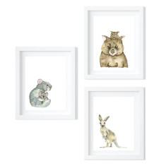 Trio of Australian Animals - limited edition fine art prints