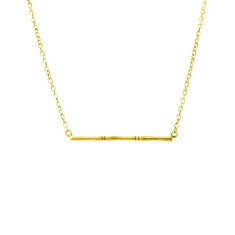 Bamboo Horizontal Necklace in 18 KT Yellow Gold Plate