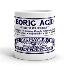Boric acid vintage style poison label mug