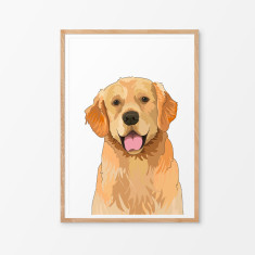 Golden Retriever illustrated print