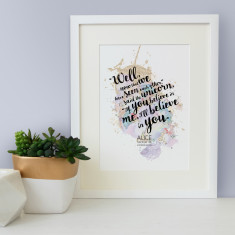 Alice in Wonderland quote if you believe in me, I'll believe in you watercolour print
