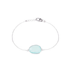 Central Stone Pebble Bracelet In Silver With Aqua Chalcedony