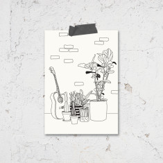 All Occasion Black and White Guitar Illustration Greeting Cards (Pack of 4)