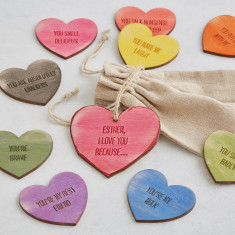 Bag of personalised love heart message tokens