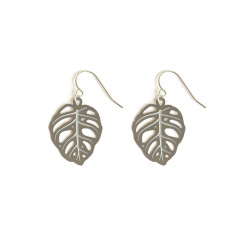 Stainless Steel Obliqua Monstera Earrings