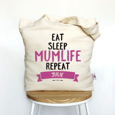 Eat Sleep Mumlife Repeat personalised tote bag
