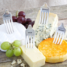 Set of personalised vintage fork cheese markers