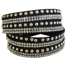 Studded double wrap bracelet in black