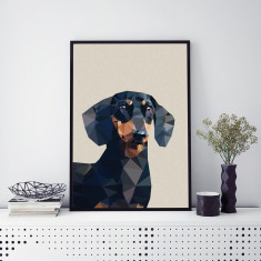 Geometric dachshund art print