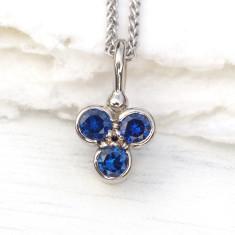 Blue Sapphire Trefoil Pendant in 18ct Gold
