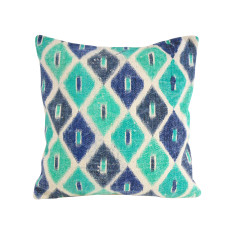 Kilim Collection emerald diamond cushion