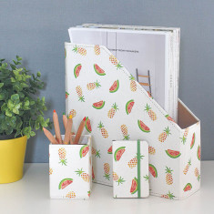 Recycled Pineapple And Watermelon Desk Tidy Set