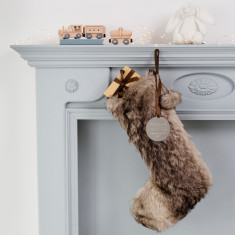 Personalised Faux Fur Baby's First Christmas Stocking
