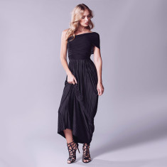 Grecian convertible maxi dress in black pleat