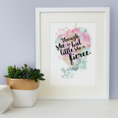 Best friend Shakespeare though she be but little she is fierce quote watercolour print