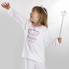 Personalised Princess Crown Pink Polka Dot Pyjama Set