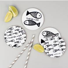 Drink like a fish coasters (set of 4)