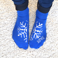 Personalised Silver Snowflake Socks