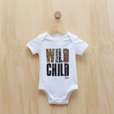 Wild child personalised animal print bodysuit