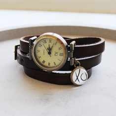 XO kiss hug antique brown leather wrap bracelet watch