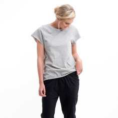 Cotton Cap Sleeve Tee in Grey Marle