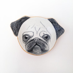 Pug face illustrated trinket dish
