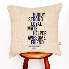 Brother personalised linen cushion cover