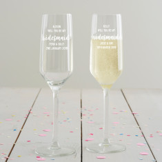 Personalised 'Will You Be My Bridesmaid?' Champagne Flute