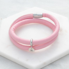 Personalised liquorice leather wrap bracelet in dusty pink and silver