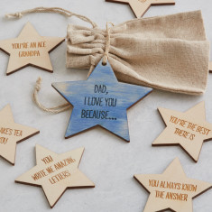 Bag of personalised message star tokens