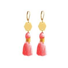 Gold geo tassel earrings in blush