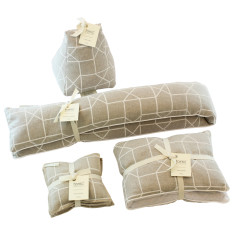 Geo heat pillow, draught stop, door stop & sachet gift set (various colours)