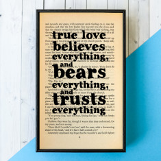 Romantic True Love Charles Dickens Quote - book page print