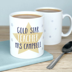 Personalised Gold Star Teacher Mug