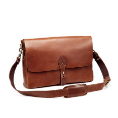 TheCompanion Leather Messenger Bag In Tan - 16